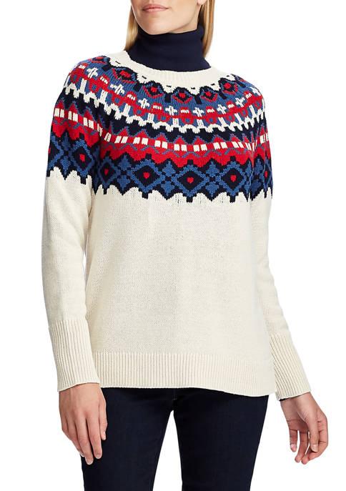 Chaps Womens Fair Isle Yoke Sweater