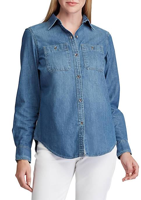 Chaps Womens Sarabeth Denim Shirt