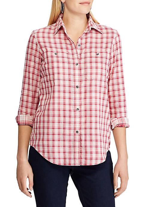 Chaps Womens Sarabeth Long Sleeve Plaid Shirt