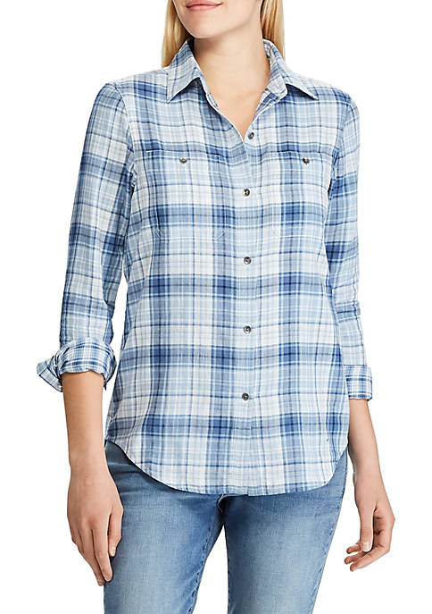 Chaps Womens Sarabeth Long Sleeve Plaid Shirt