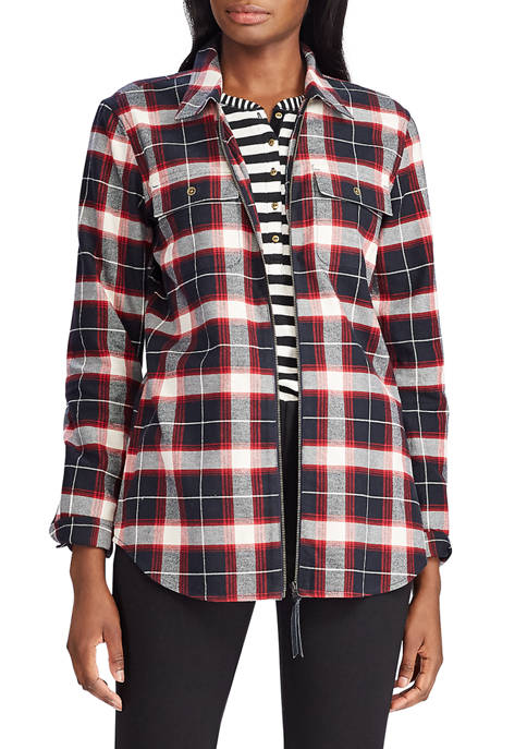 Chaps Womens Plaid Zip Front Shirt