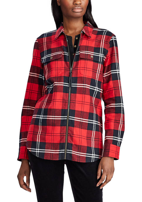 Chaps Womens Plaid Zip Front Shirt