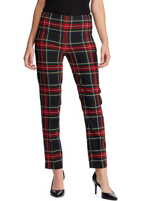 Chaps Womens Sienna Plaid Slim Pants