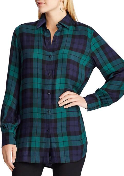 Chaps Womens Evalina Plaid Flannel Shirt