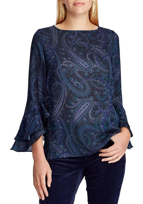 Chaps Womens Long Sleeve Paisley Blouse