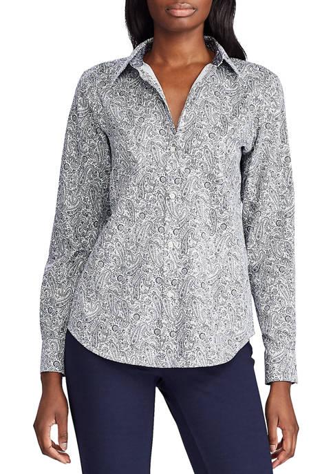 Chaps Womens Paisley Print Button Down Shirt