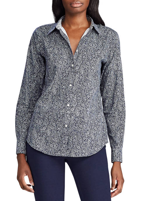 Womens Paisley Print Button Down Shirt