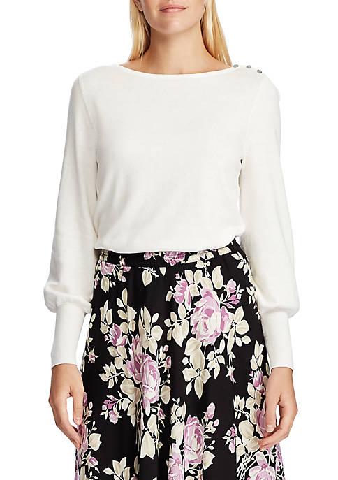 Chaps Womens Hosanna Button Shoulder Sweater