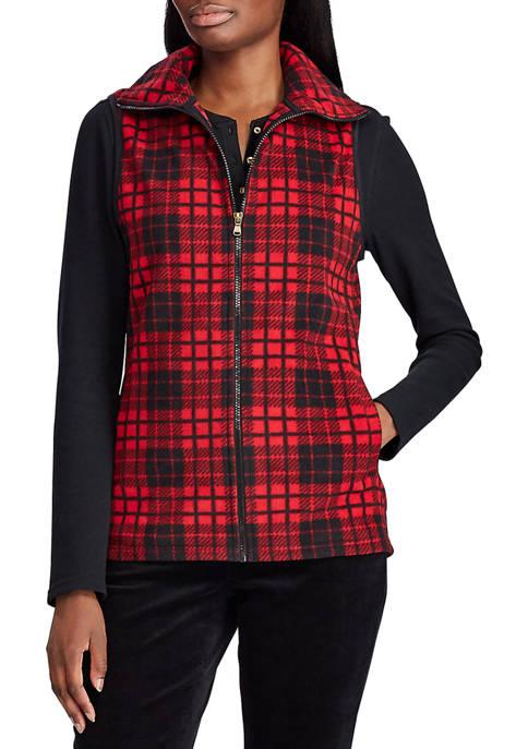 Chaps Womens Maddock Plaid Fleece Vest