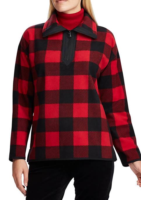 Chaps Womens Buff Checkered Fleece Jacket