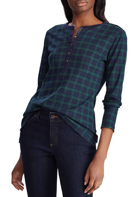 Chaps Womens Plaid Henley Top