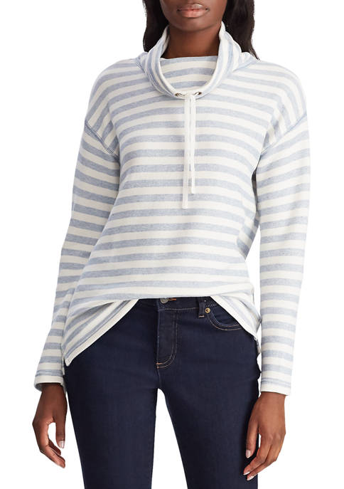 Chaps Womens Cowl Neck Stripe Sweater