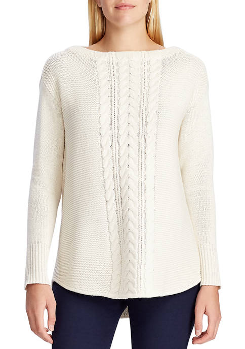 Chaps Womens Amber Cable Knit Sweater
