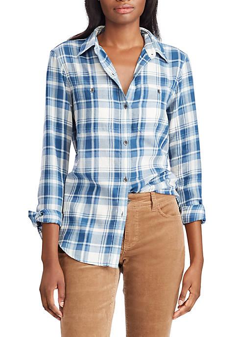 Chaps Womens Sarabeth Multicolor Plaid Shirt