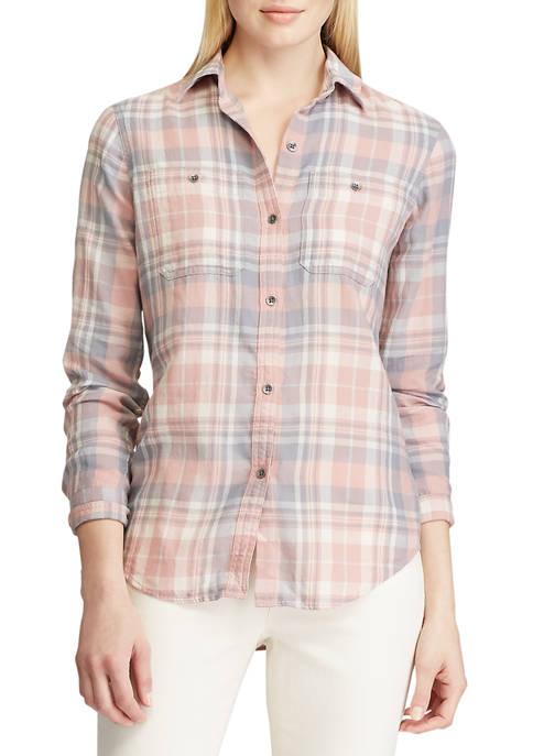 Chaps Womens Plaid Flannel Shirt