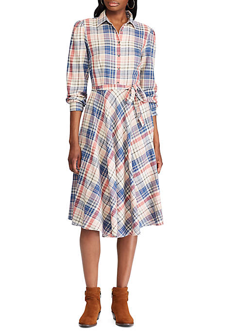 Chaps Womens Stefanie Plaid Shirt Dress