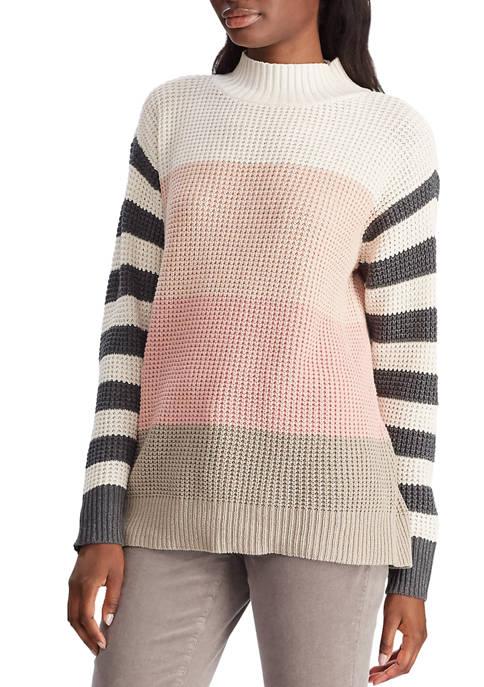 Chaps Womens Waffle Stripe Sweater