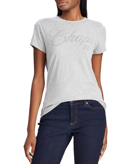 Chaps Womens Flock Logo T-Shirt