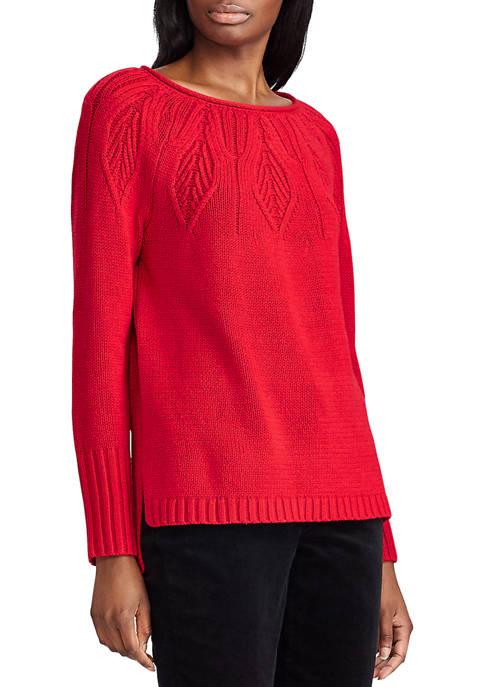 Chaps Womens Benji Pointelle Yoke Sweater