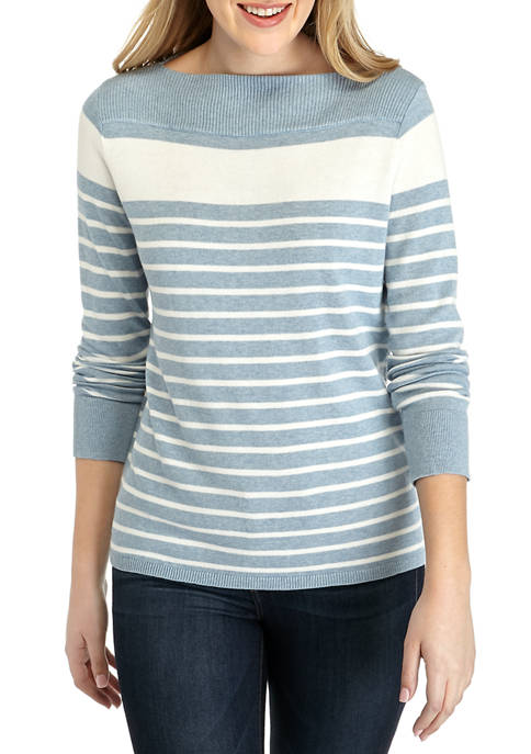 Chaps Womens Kay Multi Stripe Boat Neck Sweater