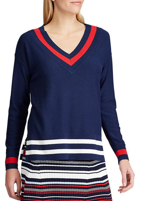 Chaps Womens Tipped V Neck Sweater