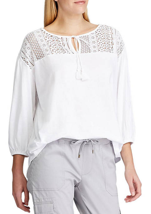 Chaps Womens Brooke Lace Trim Peasant Top