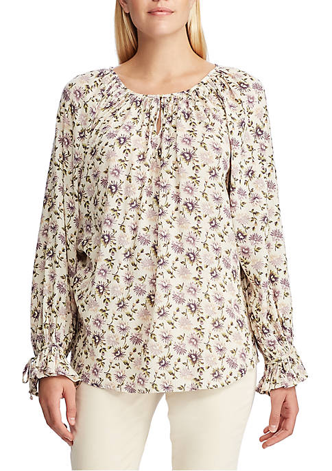 Chaps Womens Ed Floral Long Sleeve Blouse
