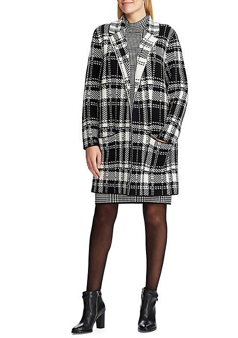 Chaps Womens Robert Plaid Sweater Jacket