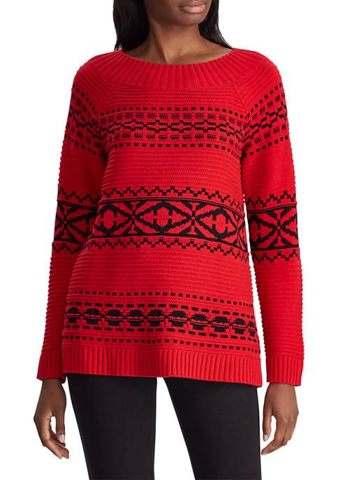 Womens Fair Isle Textile Sweater