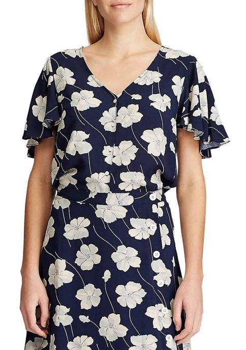 Chaps Blair Floral Flutter Sleeve Blouse