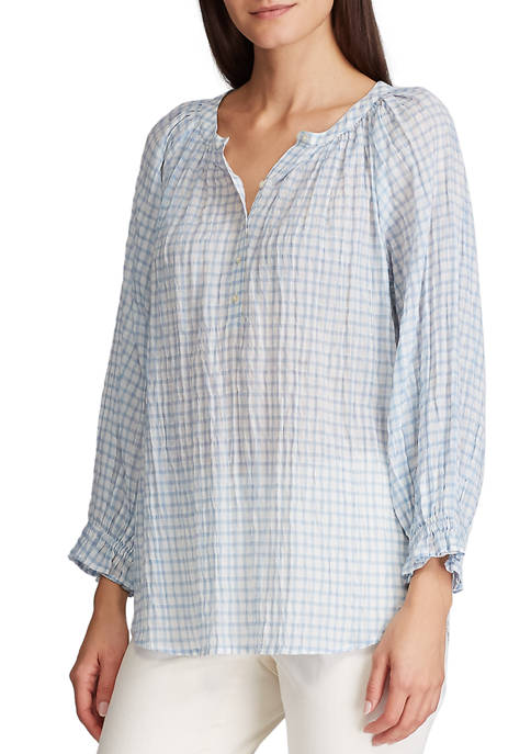 Chaps Womens Georgia Gingham Peasant Top