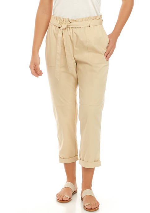 Chaps Womens Kennedy Tie Waist Cropped Pants