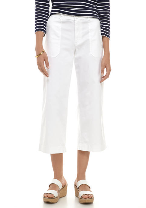 Chaps Womens Cotton Twill Wide Leg Crop Pants