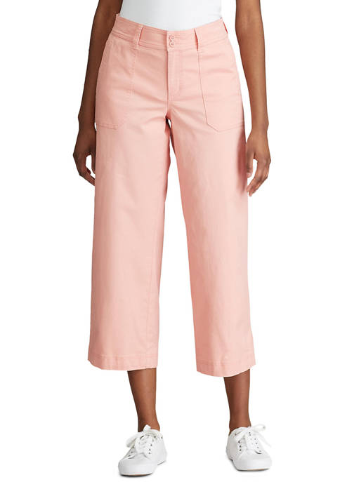 Womens Giselle Cotton Twill Wide Leg Pants