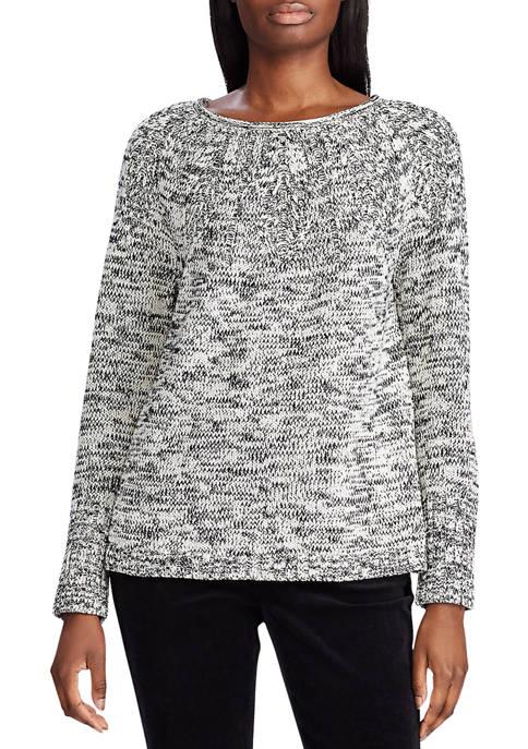 Chaps Womens Pointelle Yoke Sweater