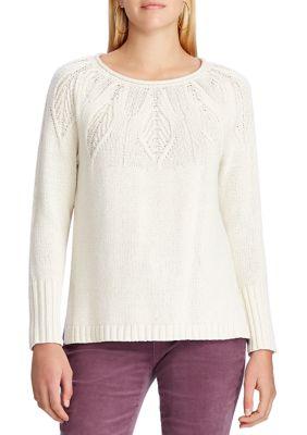 Chaps Women's Pointelle Yoke Sweater Cream Multi GTL2C