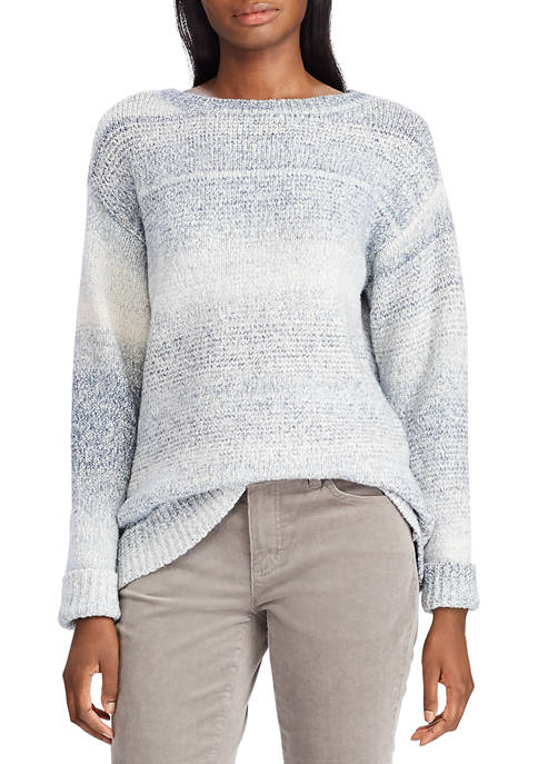 Chaps Womens Amberia Textured Stripe Sweater