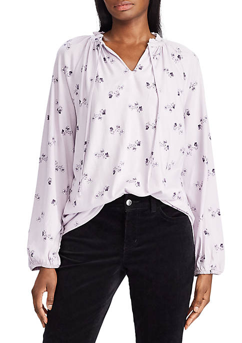 Chaps Womens Marshall Floral Peasant Blouse