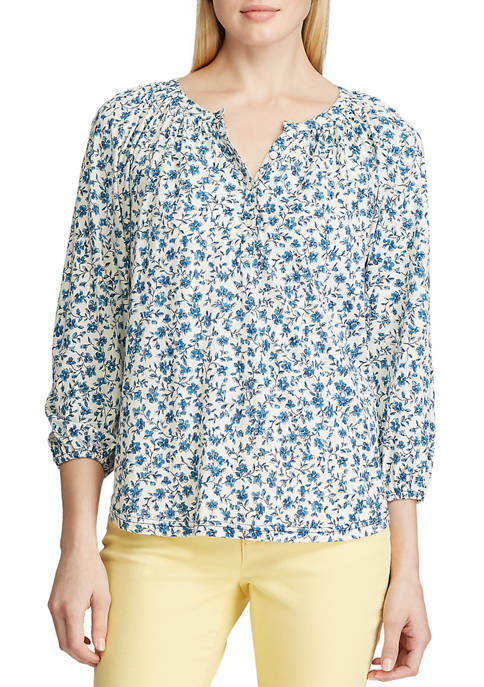 Chaps Womens Colbie Floral Peasant Knit Top
