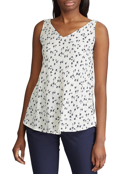 Chaps Womens Royce Daisy V-Neck Crepe Tank Top