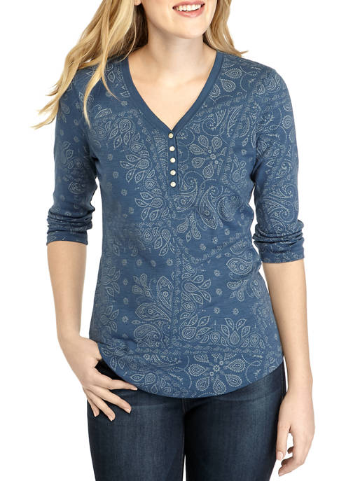 Chaps Womens Ditsy Henley Shirt