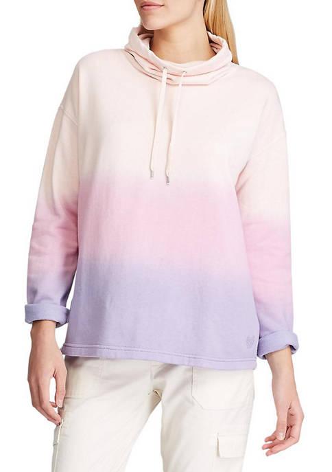 Chaps Womens Romy Dip Dye Funnel Neck Pullover