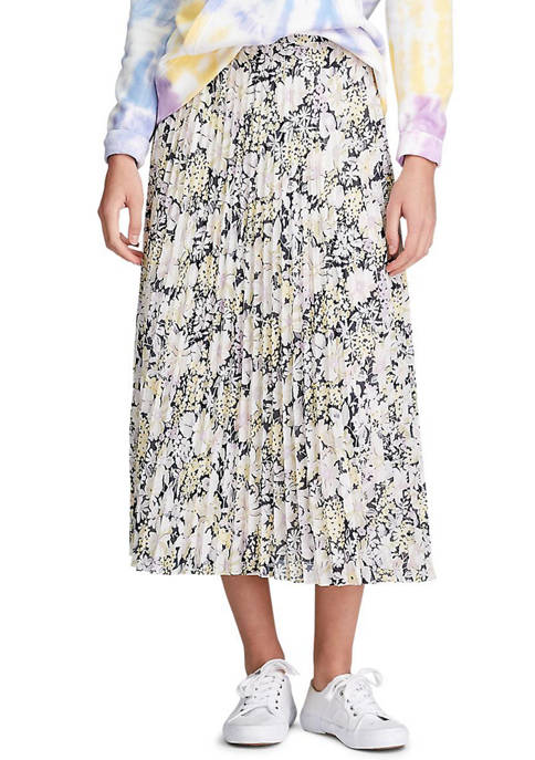 Chaps Womens Emily Floral Pleat Georgette Skirt
