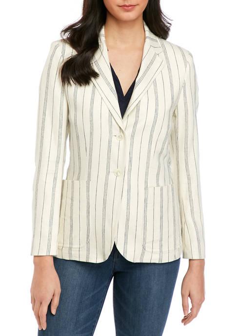 Womens Linen Stripe Blazer