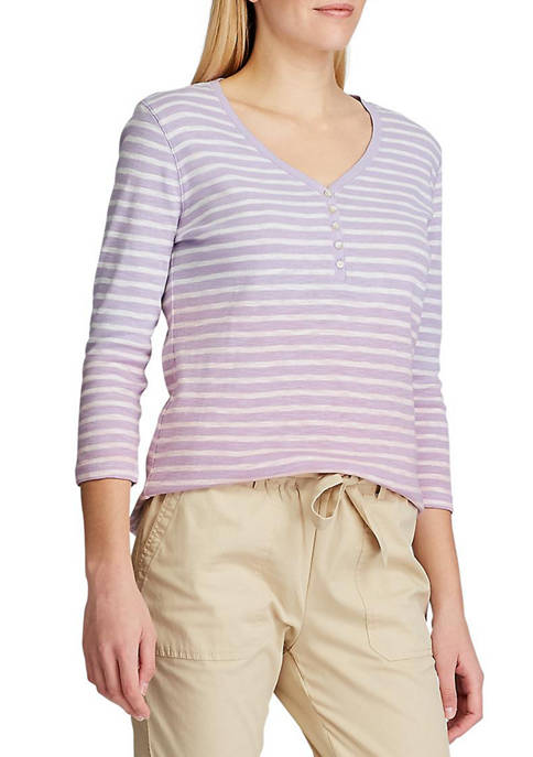 Chaps Womens Trina Stripe Henley Top