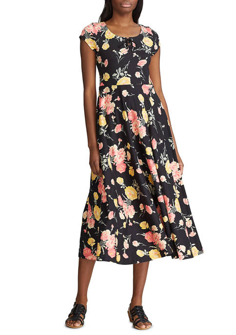 Chaps Womens Floral Fit and Flare Dress