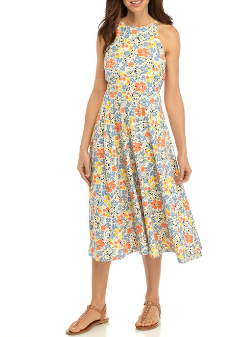 Chaps Womens Coral Floral Fit and Flare Dress