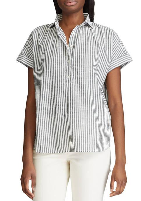 Chaps Womens Short Sleeve Seymour Stripe Button Front