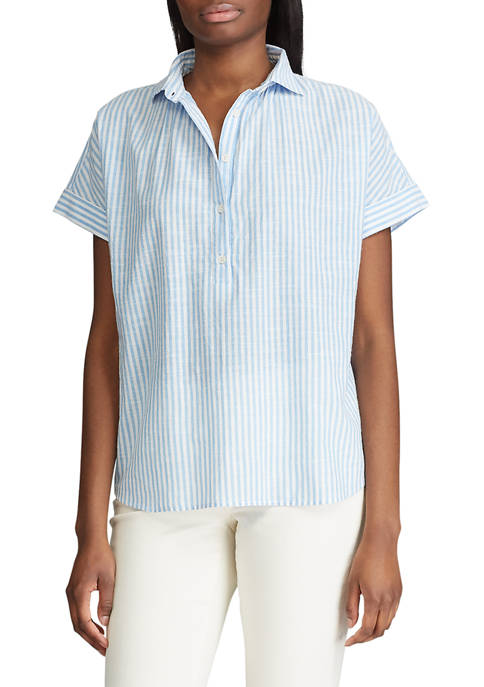 Chaps Womens Short Sleeve Striped Shirt