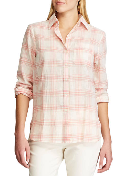 Chaps Womens Long Sleeve Tommi Plaid Cotton Shirt